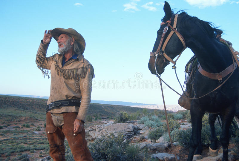 Cowboy and horse standing in desert