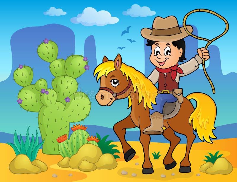 Cowboy on horse theme image 2 vector illustration