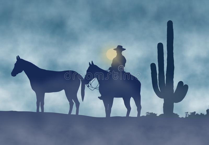 Download Cowboy And Horses In A Foggy Day Stock Illustration - Image: 33723142