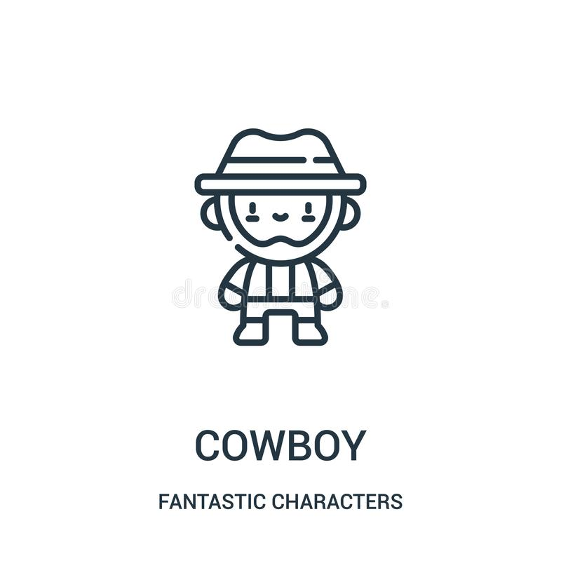 cowboy icon vector from fantastic characters collection. Thin line cowboy outline icon vector illustration royalty free illustration