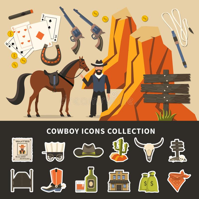 Cowboy Icons Collection vector illustration