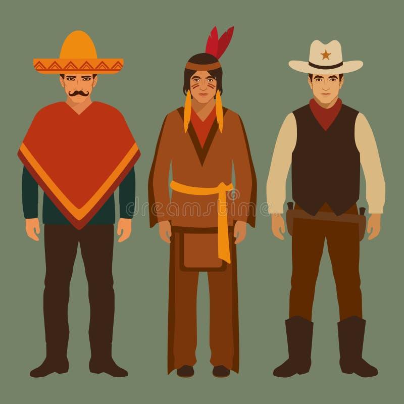 Cowboy, Indisch en Mexicaans, vector illustratie