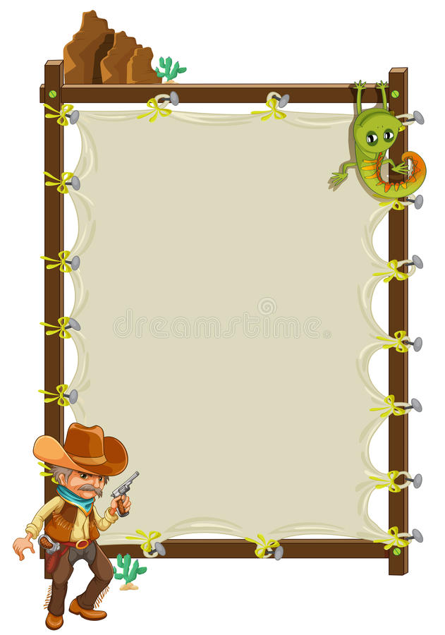 Download A Cowboy Infront Of An Empty Framed Banner Stock Vector - Image: 33097842