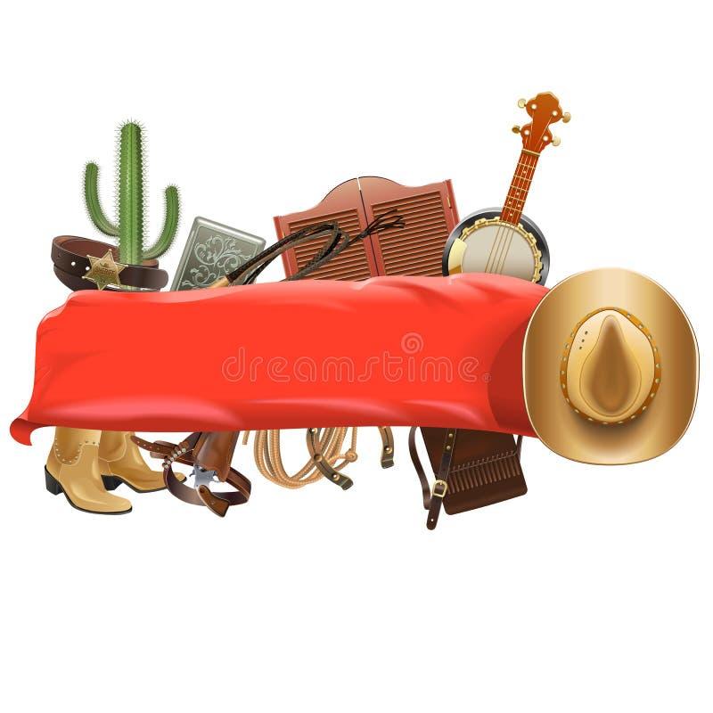 Cowboy joyeux Banner de vecteur illustration libre de droits