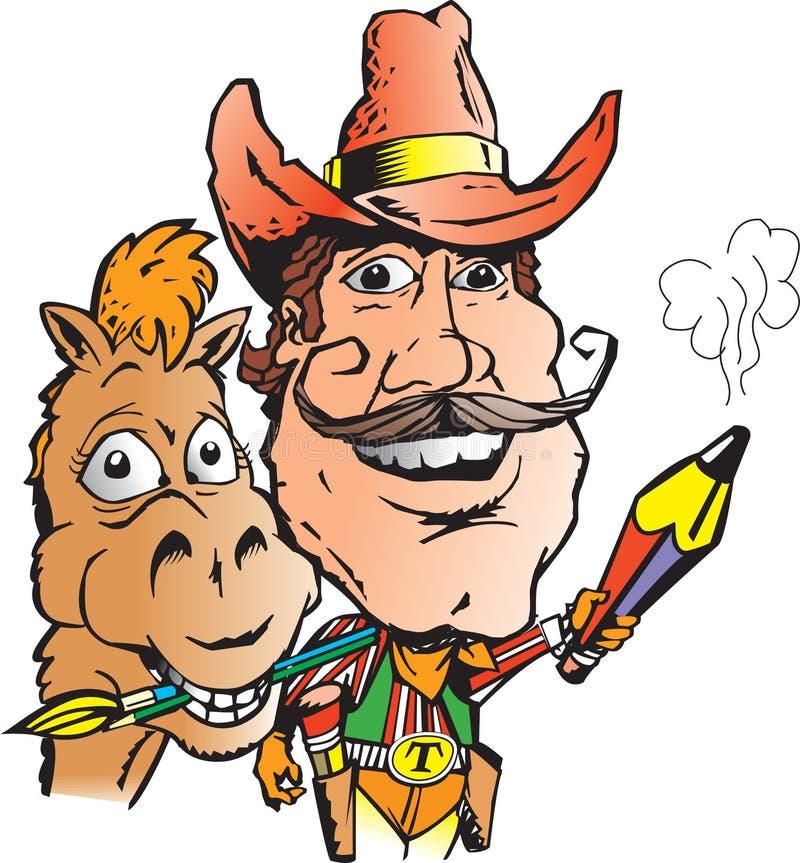 Cowboy-Künstler und Pferd lizenzfreie abbildung