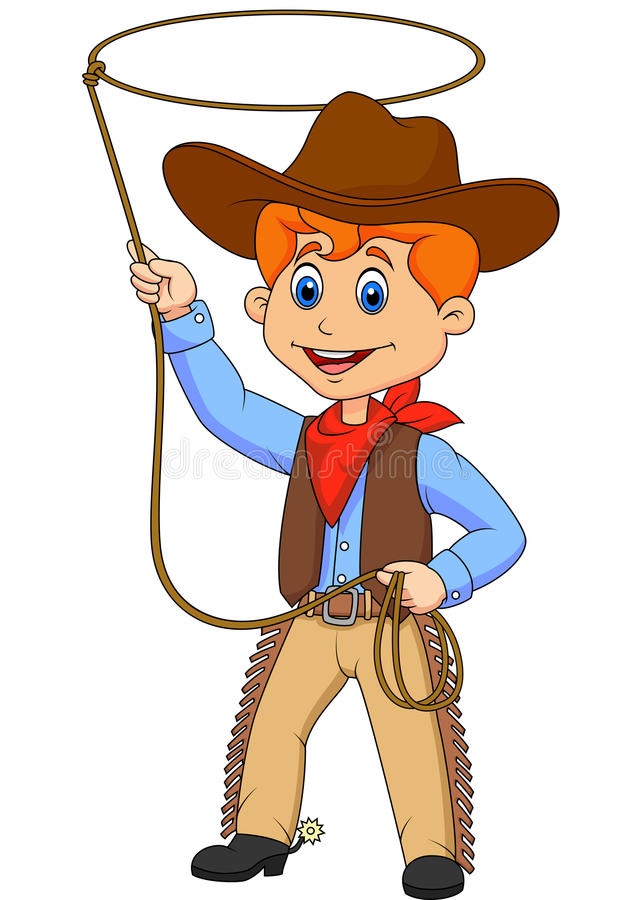 Cowboy kid cartoon twirling a lasso vector illustration