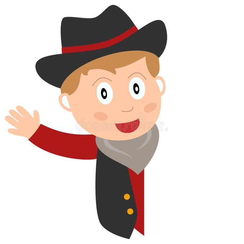 Cowboy Kid & insegna in bianco illustrazione di stock