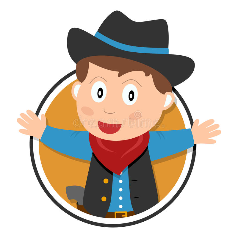 Cowboy Kid Logo vektor illustrationer