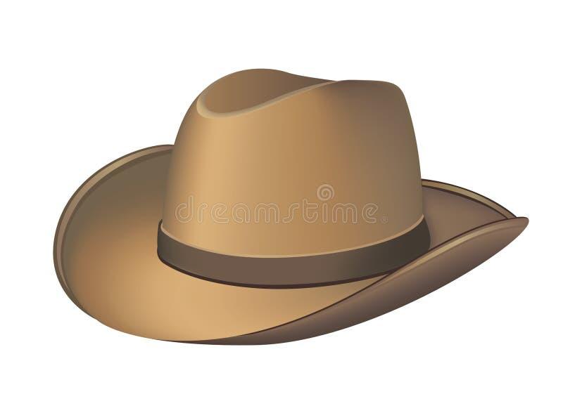 Cowboy léger Hat Vector Illustration de Brown jaunâtre images stock