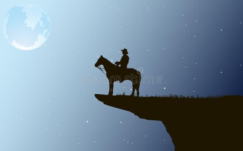 Cowboy la nuit illustration de vecteur