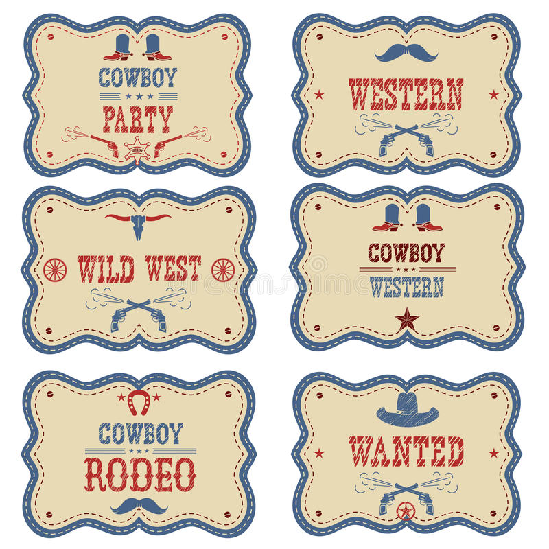 Cowboy labels isolated on white. Vector western cowboy symbols vector illustration