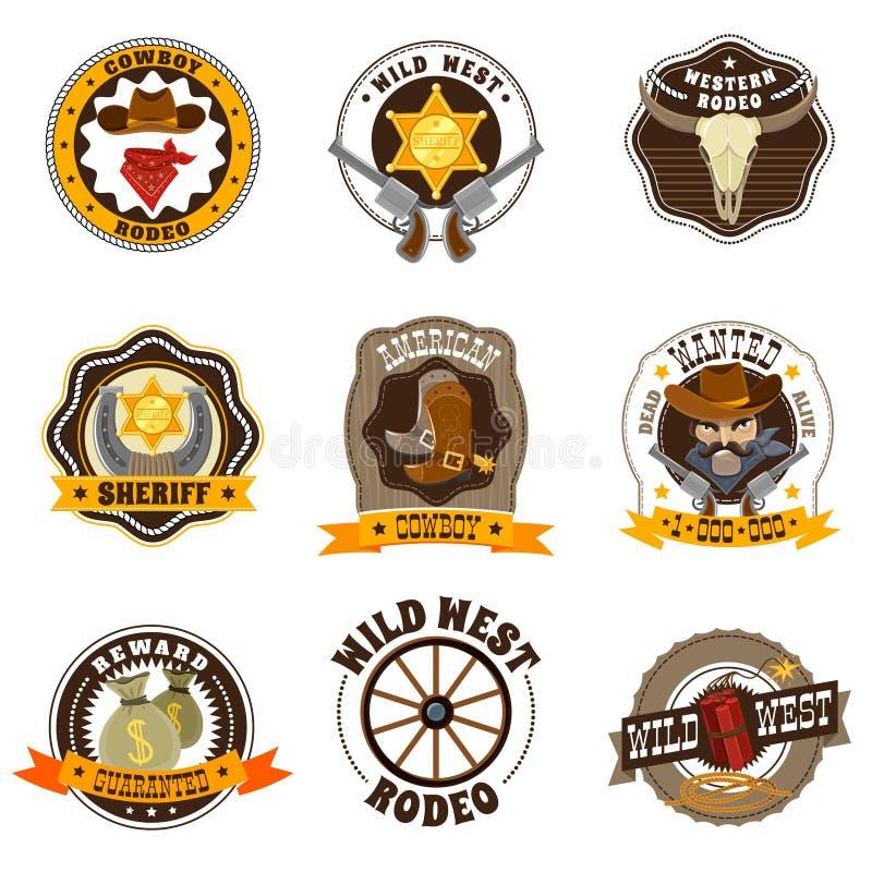 Cowboy Labels Set stock illustrationer