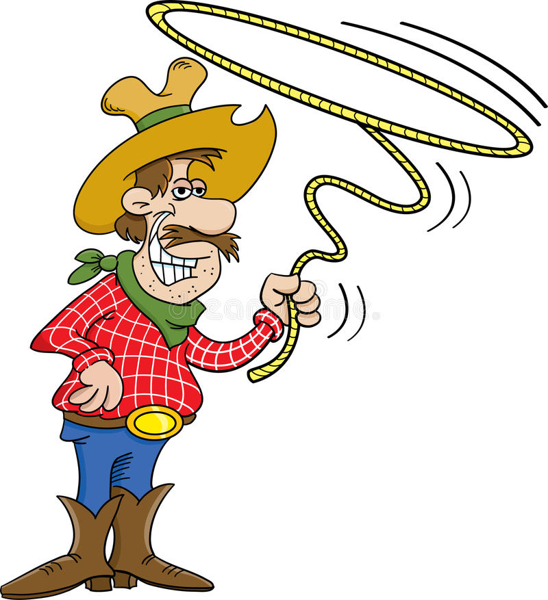 Cowboy with a lasso stock illustration