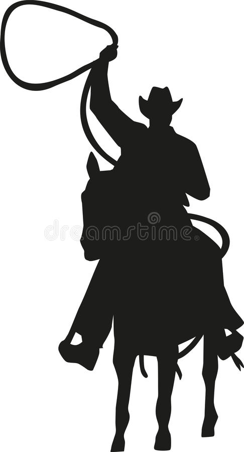 Cowboy with lasso on a horse royalty free illustration