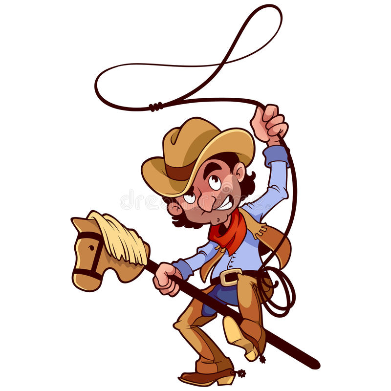 Cowboy with lasso on a stick-horse stock illustration