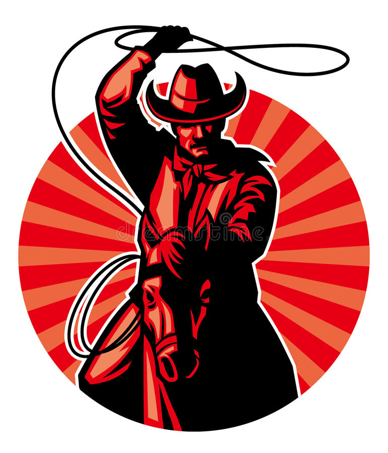 Cowboy with lasso stock illustration