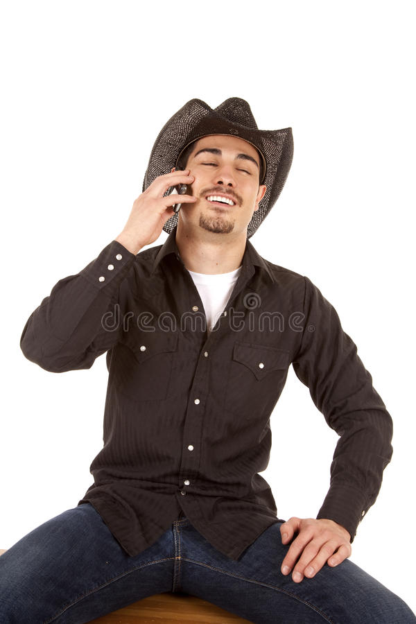 Download Cowboy laugh phone stock image. Image of holding, person - 19491279