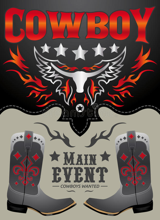 Cowboy main event poster vector. Card - invitation template - eps available stock illustration