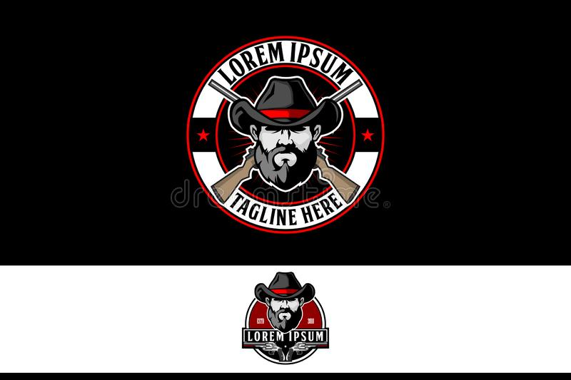 cowboy man with cross rifle vector logo template royalty free illustration