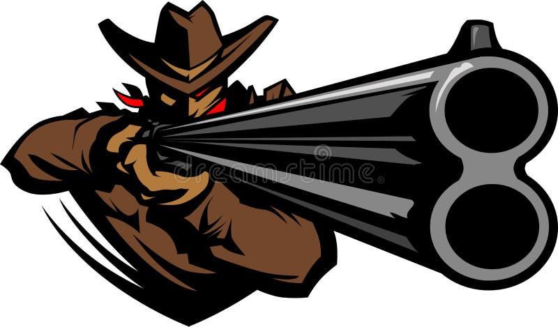 Cowboy Mascot Aiming Shotgun Illustration royalty free illustration