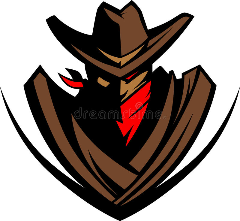 Cowboy-Maskottchen-Zeichen stock abbildung