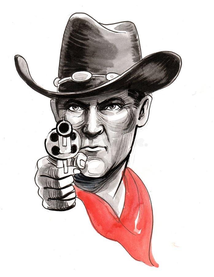 Cowboy med ett vapen royaltyfri illustrationer