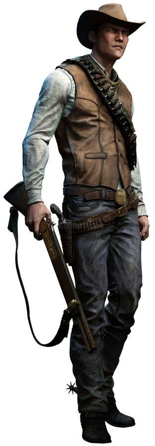 Cowboy med geväret royaltyfri illustrationer