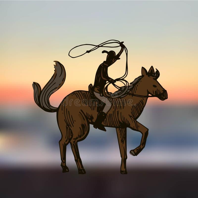 Cowboy med hästen stock illustrationer