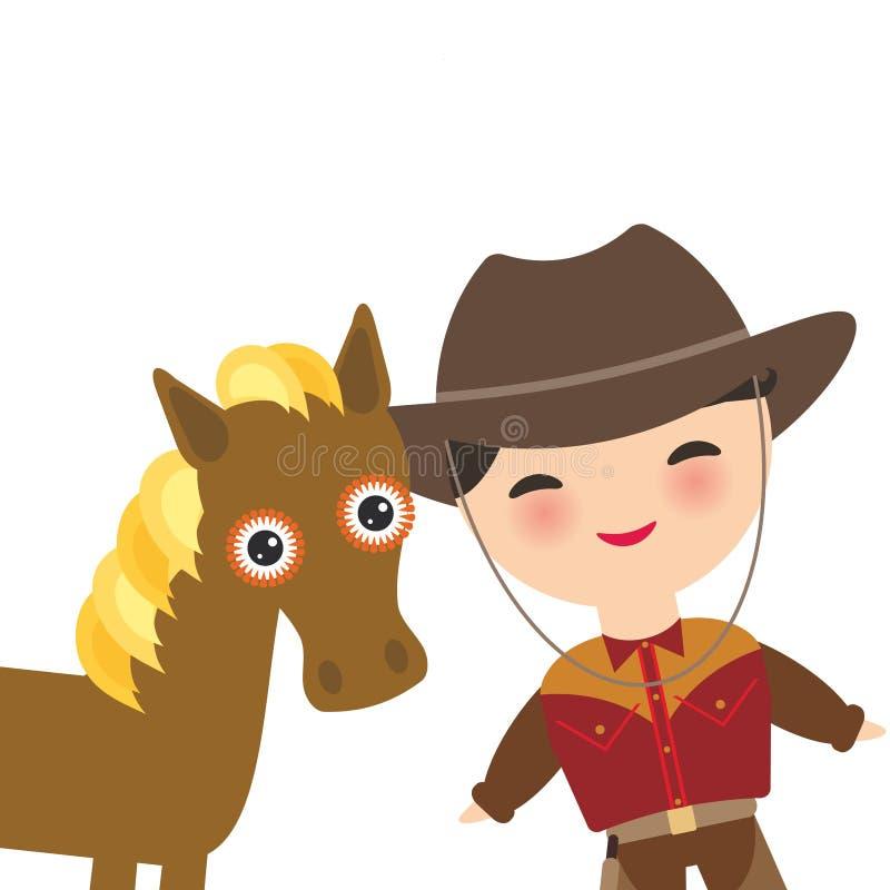 Cowboy med hatt- och hästpojken i nationell dräkt och hatt Tecknad filmbarn i traditionell klänning bakgrund isolerad white Ve vektor illustrationer