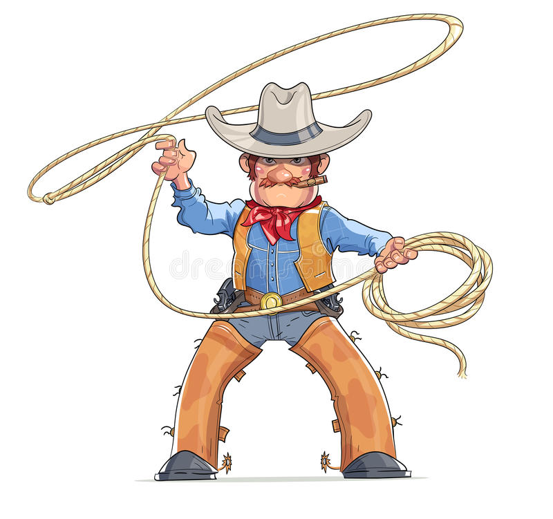Cowboy med lasson Amerikanskt västra tecken stock illustrationer