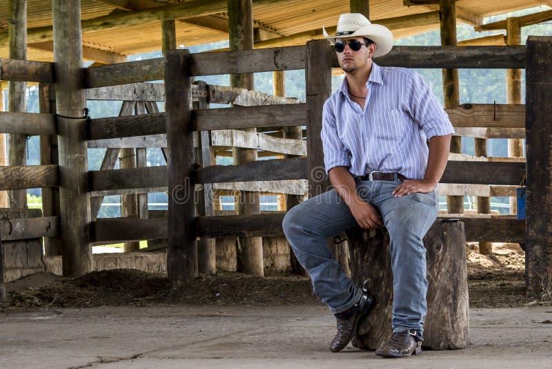 Cowboy messo fotografie stock
