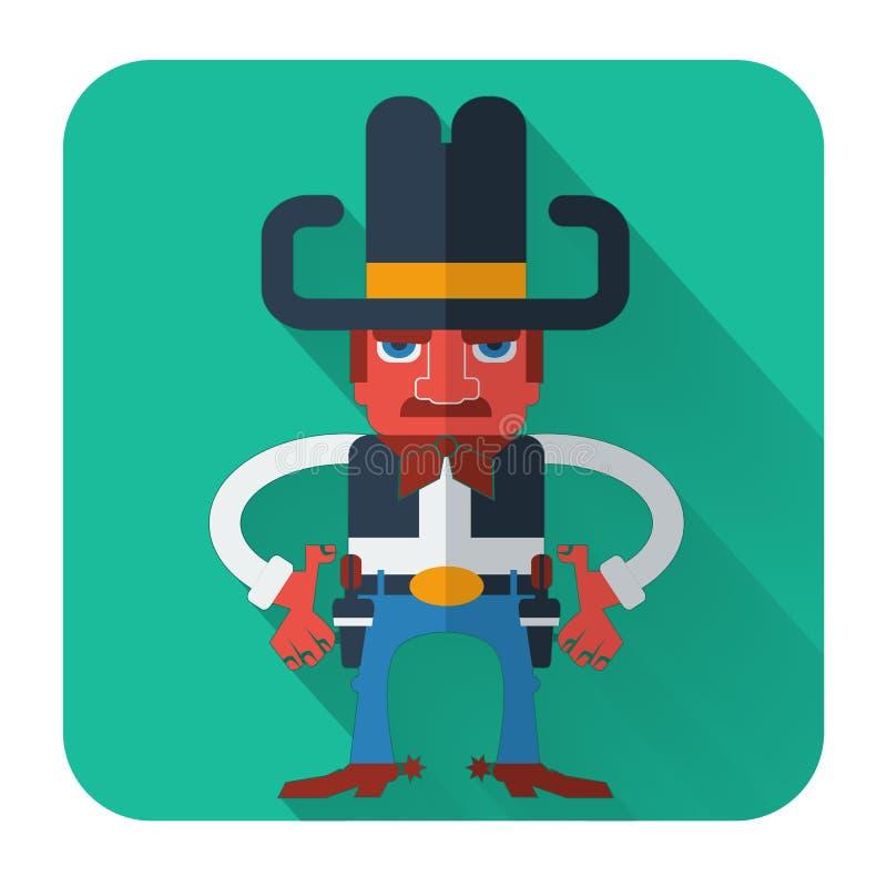 Cowboy met kanonnen. Vector vlak stijlpictogram vector illustratie