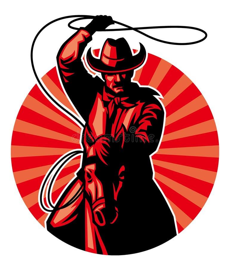 Cowboy met lasso stock illustratie