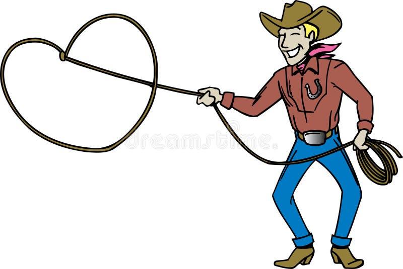 Cowboy met lasso royalty-vrije illustratie