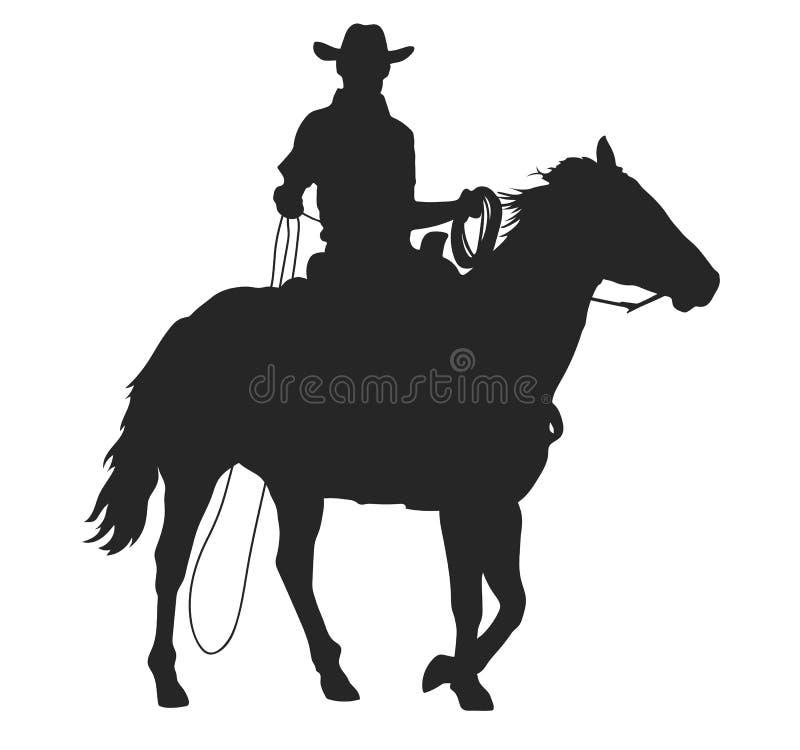 Cowboy met lasso die een paard berijden stock illustratie