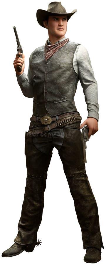 Cowboy met pistolen 3D illustratie vector illustratie
