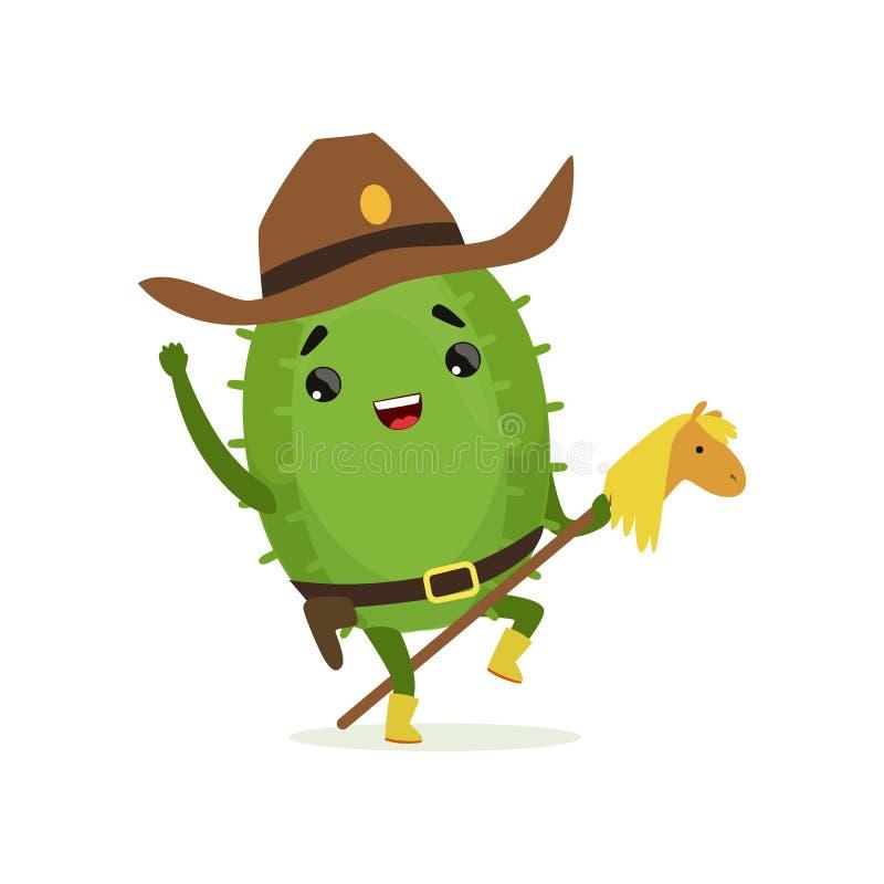 Cowboy mignon de cactus, équitation drôle de caractère d'usine sur le cheval de jouet, illustration de vecteur de bande dessinée illustration stock