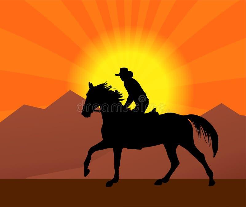 Cowboy montant un cheval en silhouette de coucher du soleil illustration de vecteur