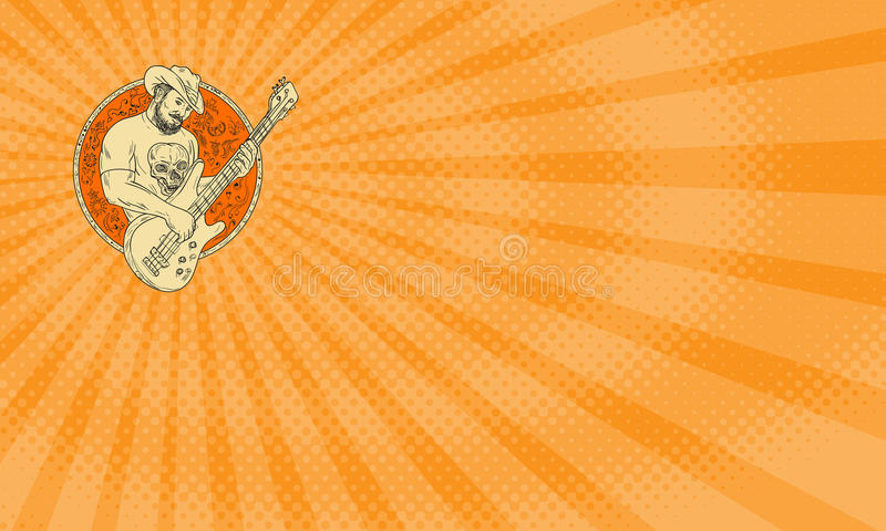Cowboy Music Business card vector illustration
