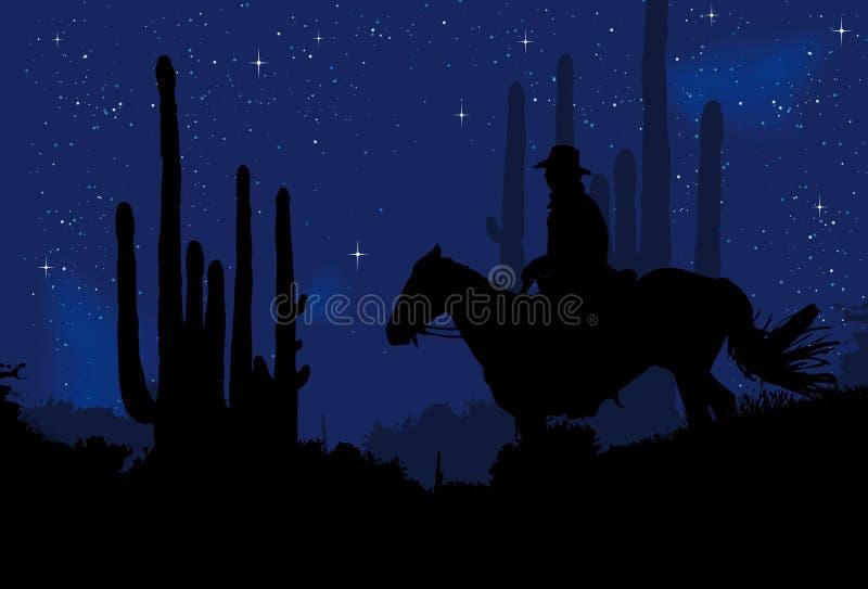 Cowboy nella notte illustrazione vettoriale