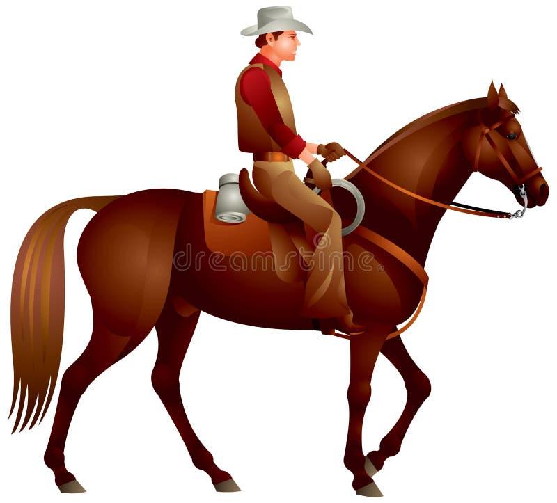 Cowboy no cavalo ilustração stock