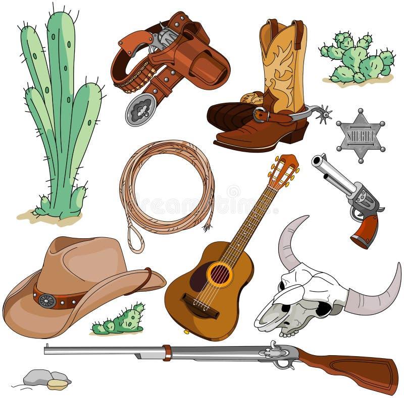 Cowboy objects set. Various vintage cowboy western objects set royalty free illustration