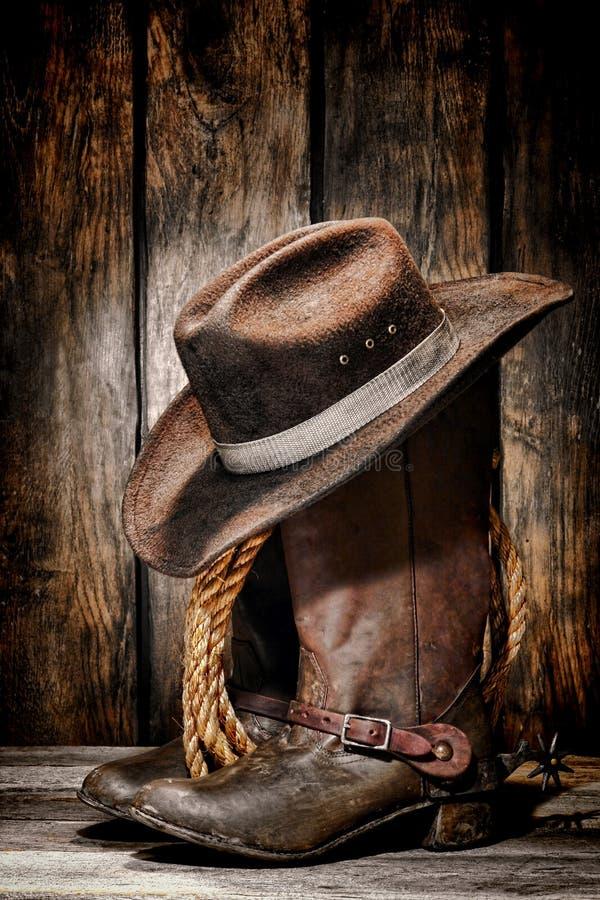 Cowboy occidental américain Boots de vintage de rodéo image stock