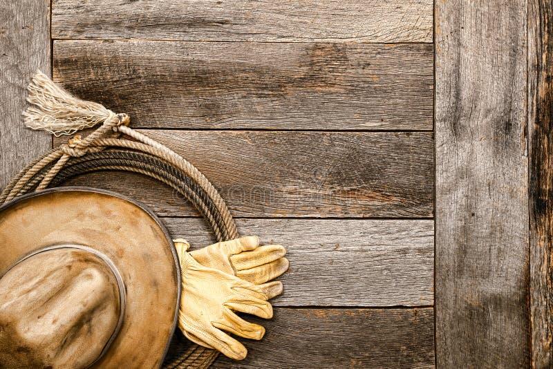 Cowboy occidental américain Hat de légende sur le lasso de lasso images libres de droits