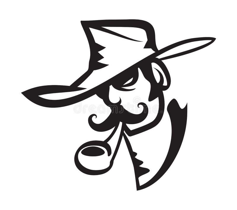 Cowboy occidental sauvage Portrait Illustration illustration de vecteur