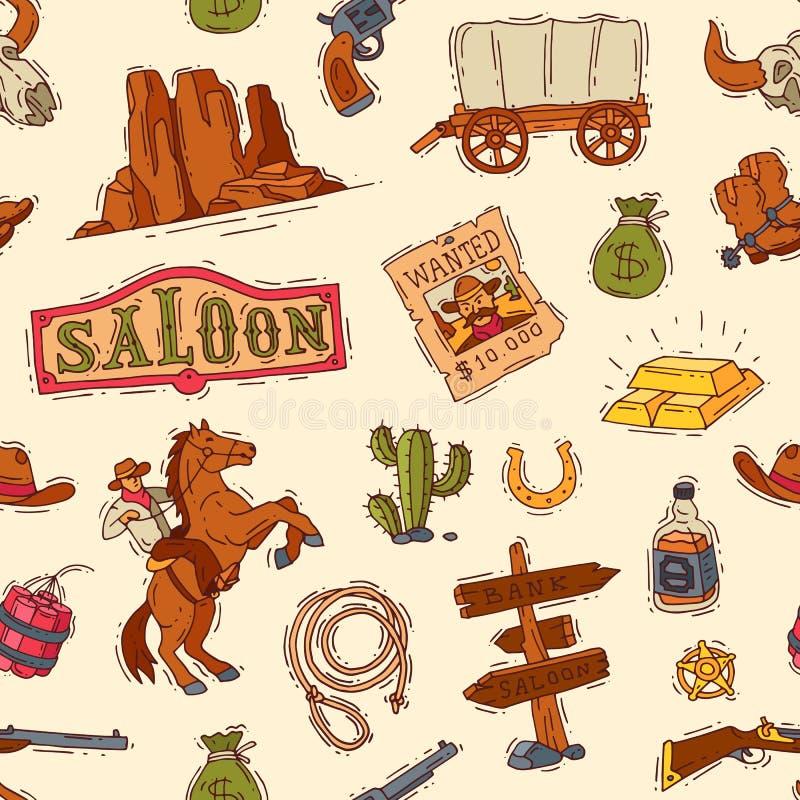 Cowboy occidentale o sceriffo di vettore ad ovest selvaggio nel deserto della fauna selvatica con del cactus dell'illustrazione i illustrazione vettoriale