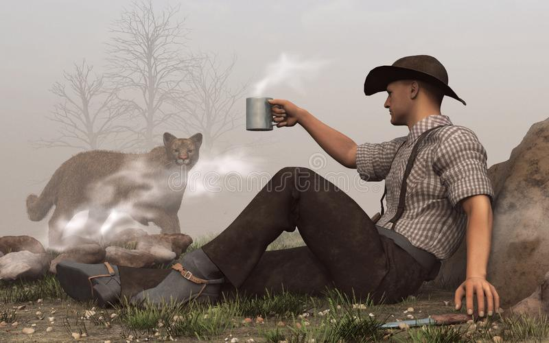 Cowboy och puma stock illustrationer