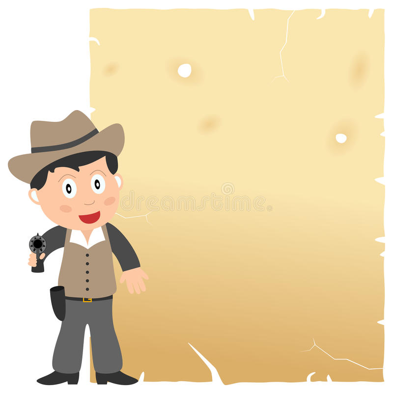 Cowboy And Old Parchment Royalty Free Stock Image