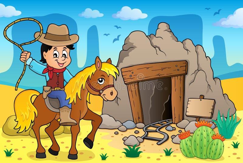 Cowboy op beeld 3 van het paardthema vector illustratie