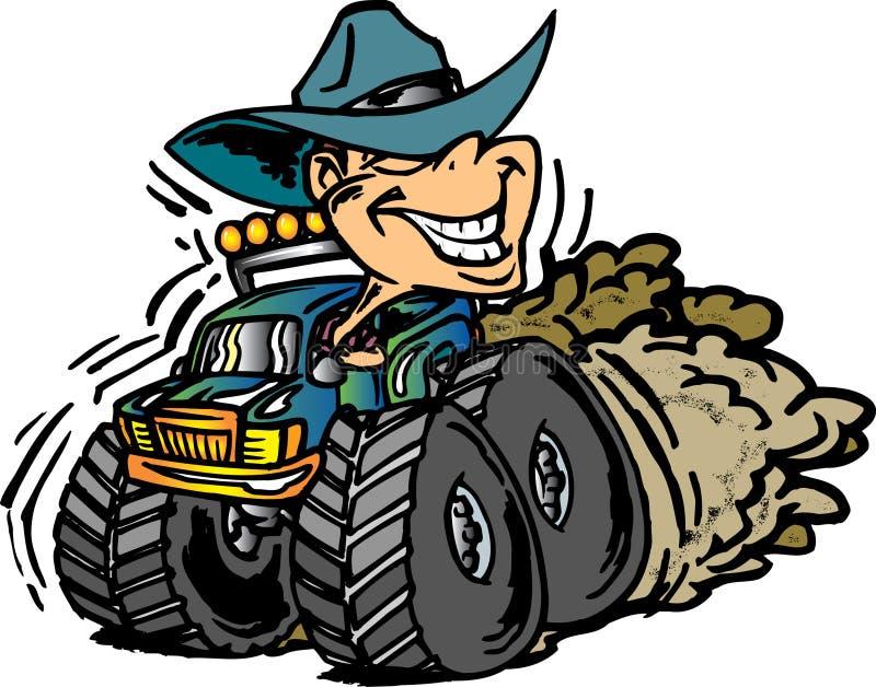 Cowboy op de Vrachtwagen van het Monster stock illustratie
